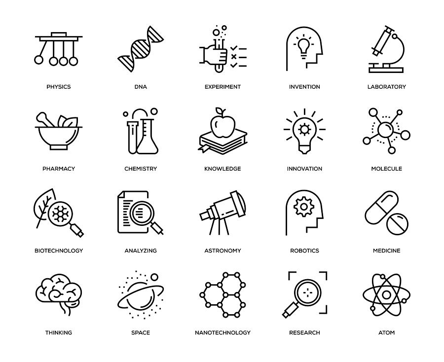 Science Icon Set Drawing by Enis Aksoy