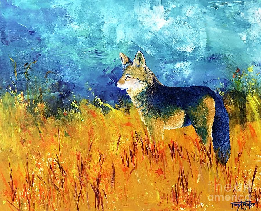 Coyote Painting - Scouting for a Den by Tracy L Teeter