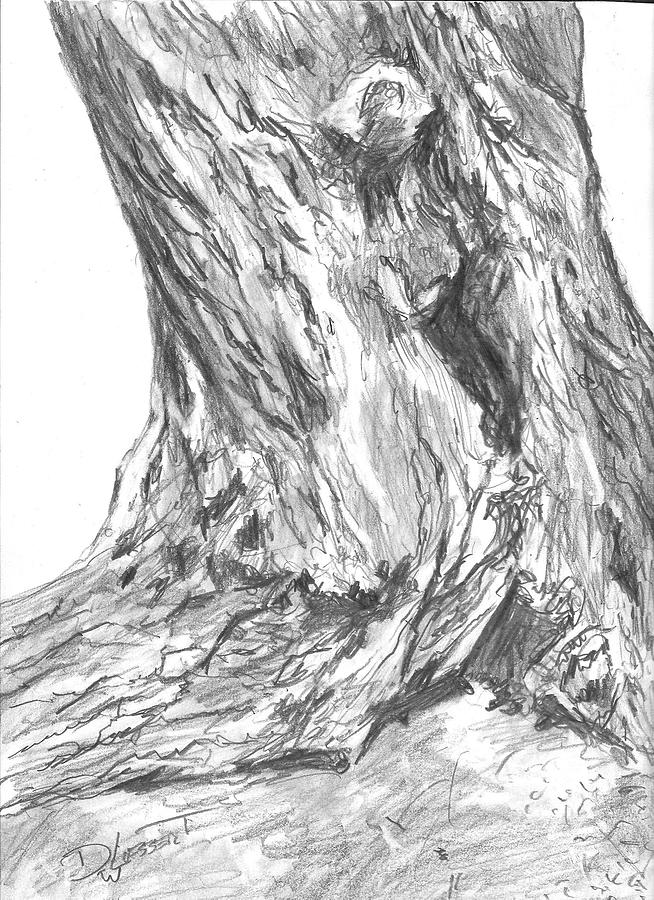 Scraggly Tree Trunk Digital Art
