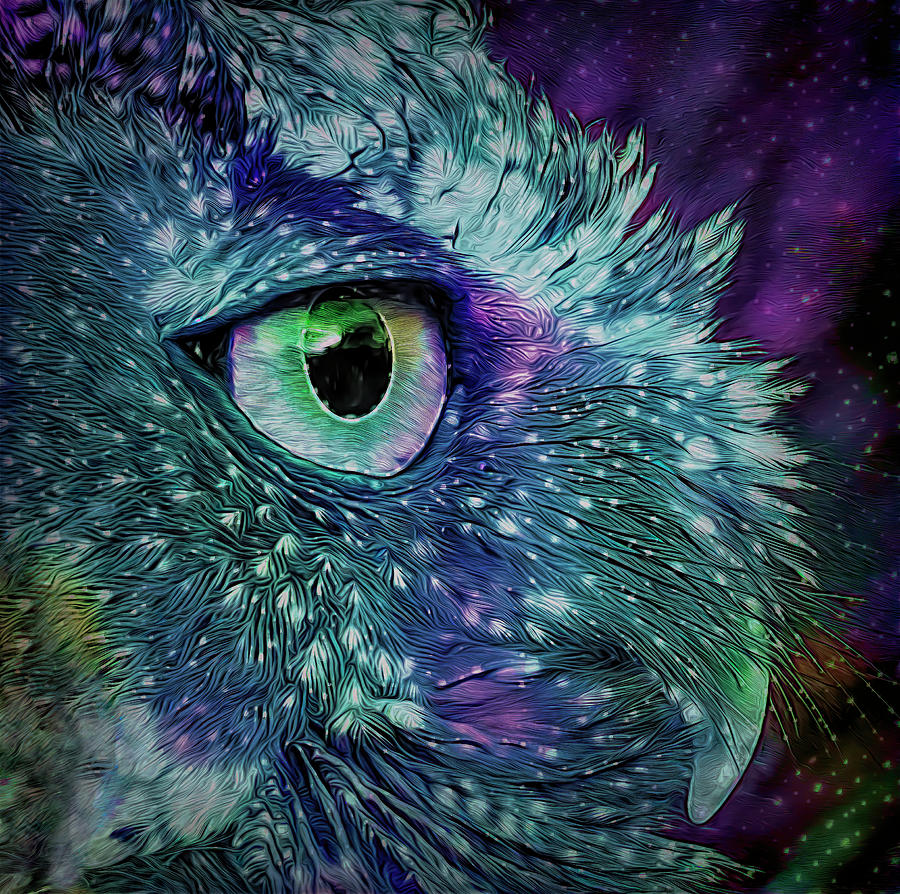Screech Owl Portrait Stylized by Lowell Monke