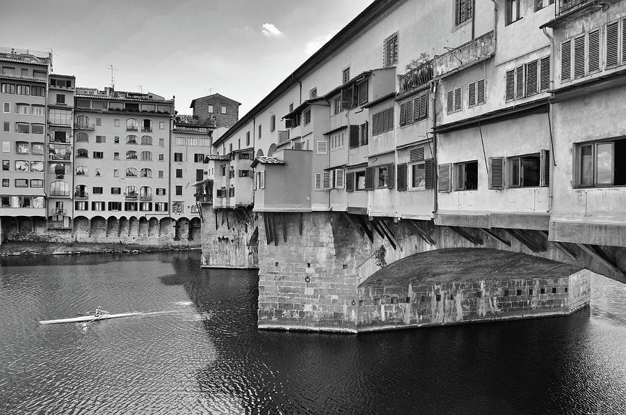 Sculler on River Arno Below Ponte Vecchio Florence Italy Black and White by Shawn O'Brien