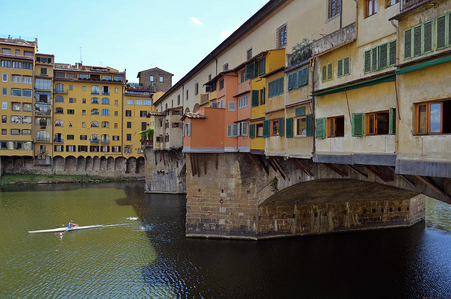 Sculler on River Arno Below Ponte Vecchio Florence Italy by Shawn O'Brien
