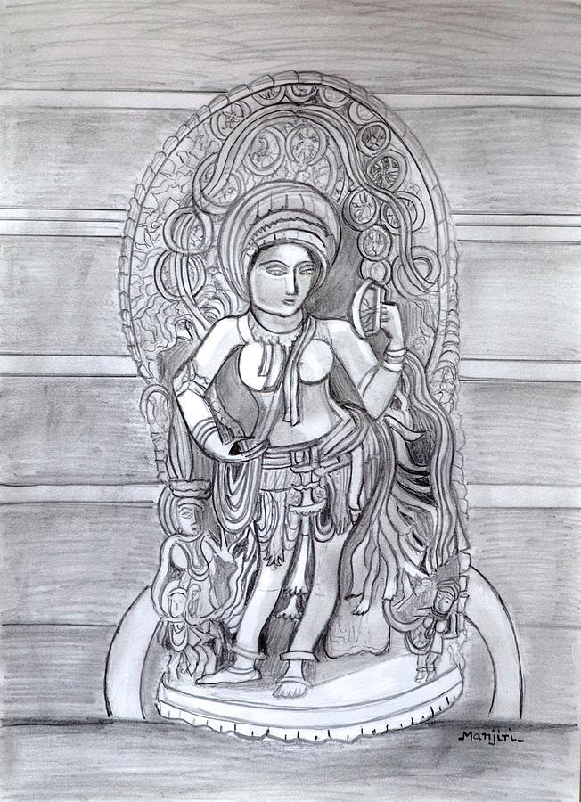 Sketch Drawing - Sculpture pencil  drawing of Madanika Chennakesava temple Karnataka by Manjiri Kanvinde