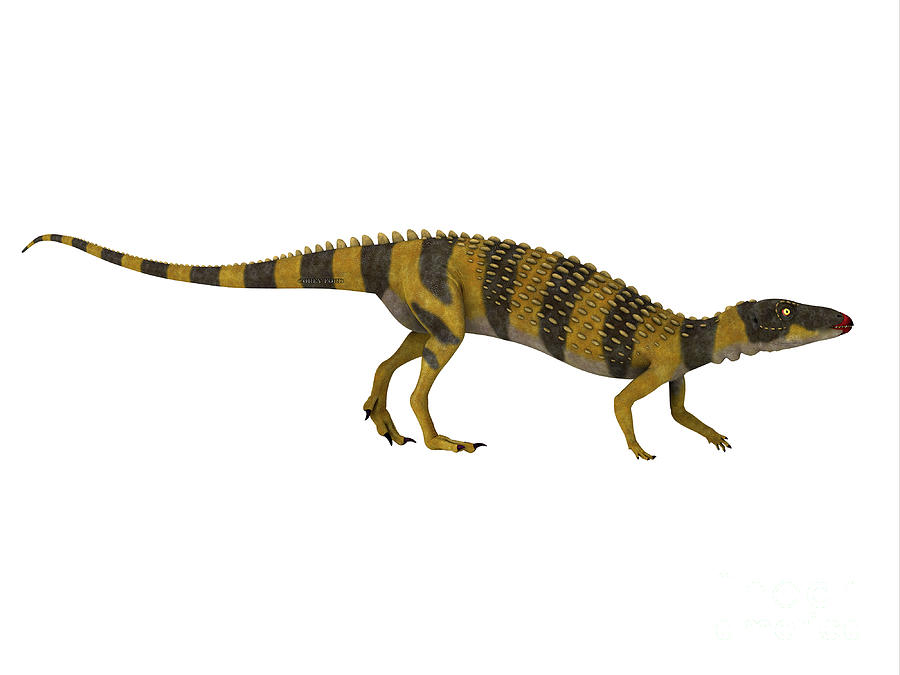 Scutellosaurus Dinosaur Walking Digital Art
