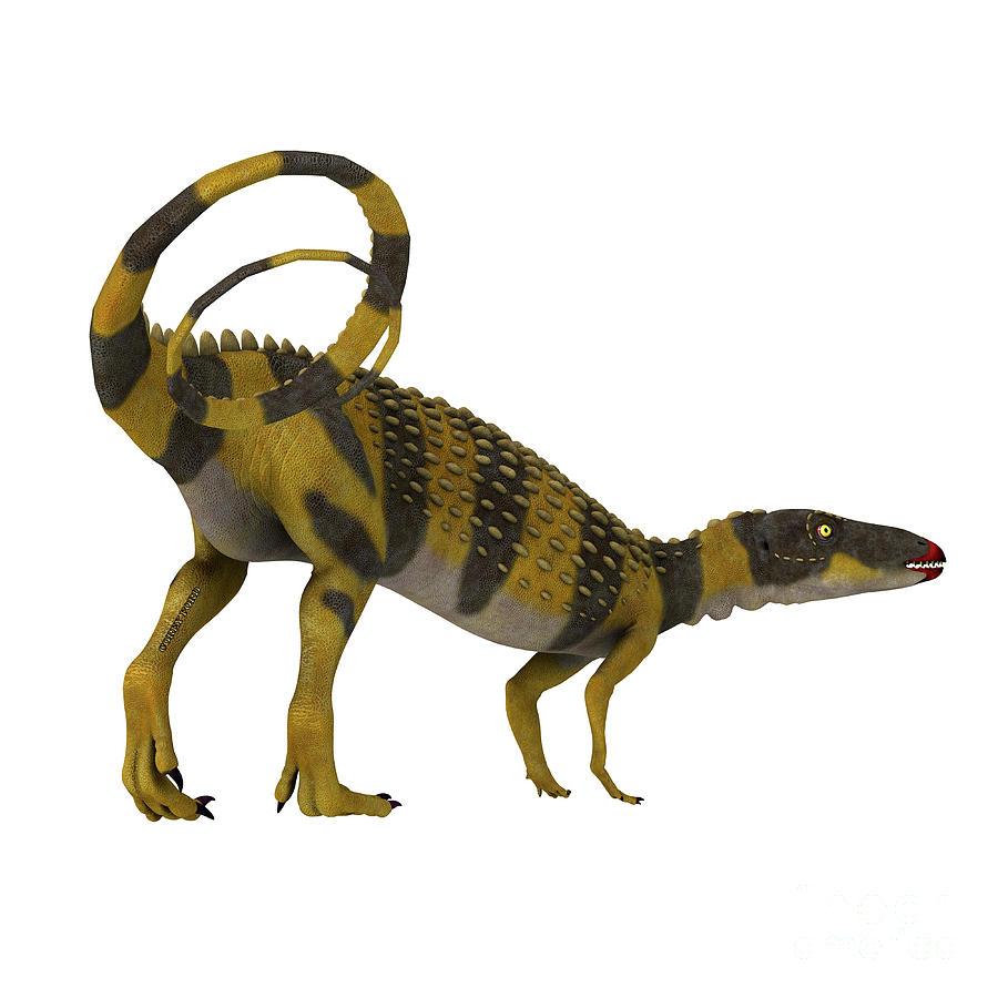 Scutellosaurus Dinosaur With Tail Digital Art