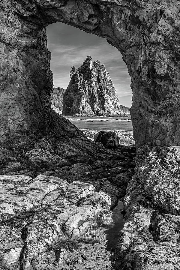 Sea Arch In Black And White Photograph