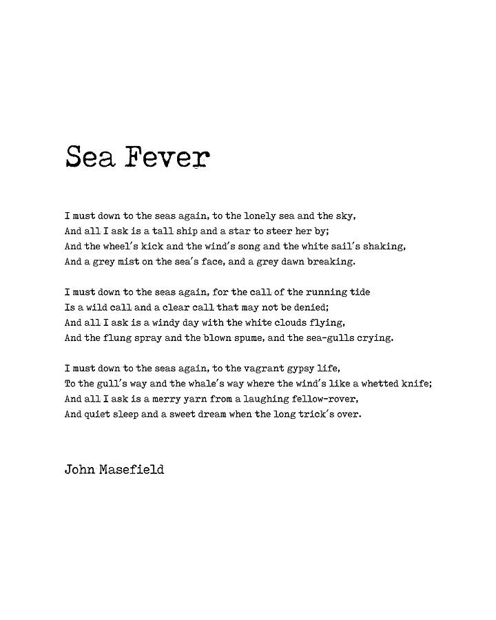 Sea Fever - John Masefield Poem - Literary Print - Typewriter Digital Art