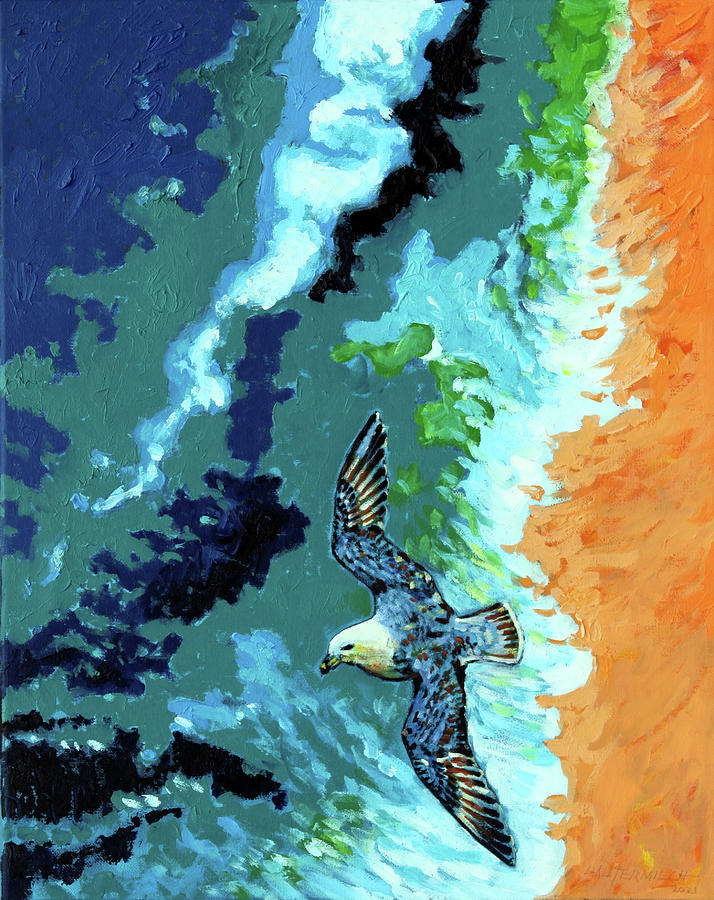 Ocean Painting - Sea Gull Over Ocean by John Lautermilch