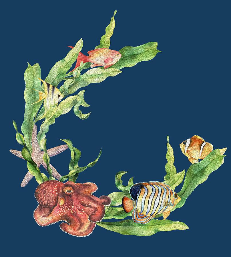 Sea Life Mixed Media - Sea Life Wreath Painted by Johanna Hurmerinta