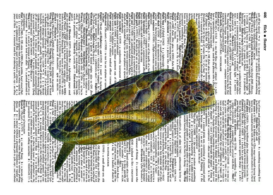 Sea Turtle 2 On Dictioinary Painting