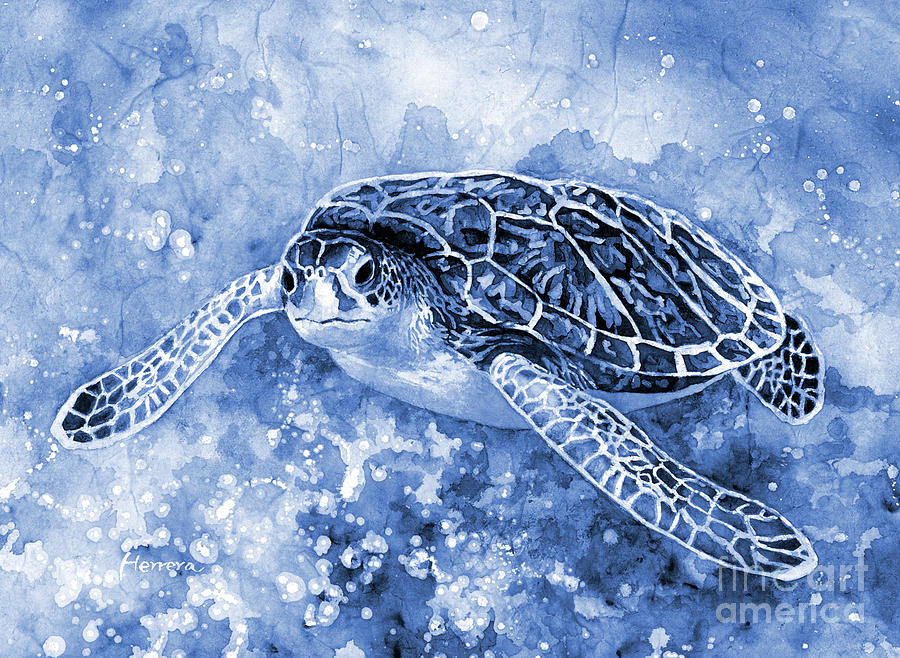 Sea Turtle 3 In Blue Painting
