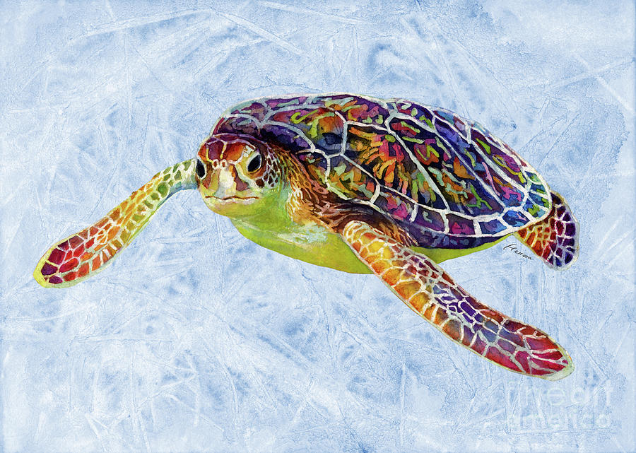 Sea Turtle 3 On Blue Painting