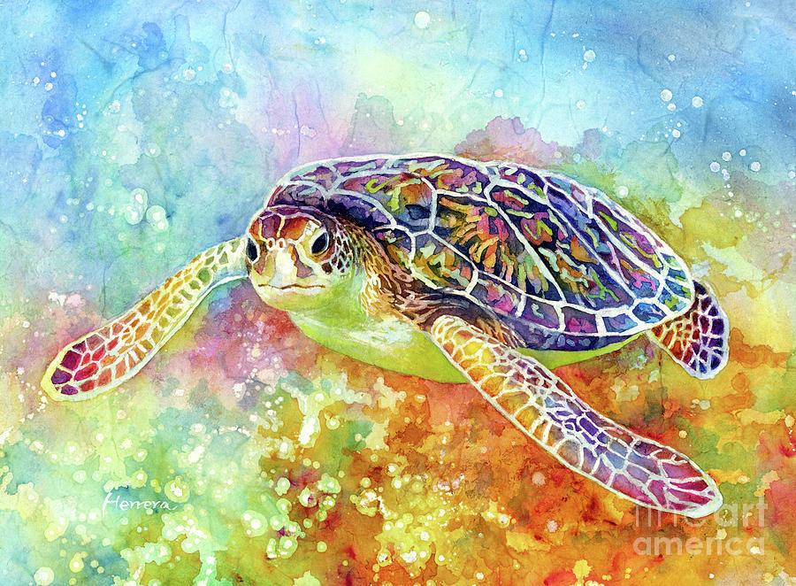 Sea Turtle Painting - Sea Turtle 3-pastel colors by Hailey E Herrera