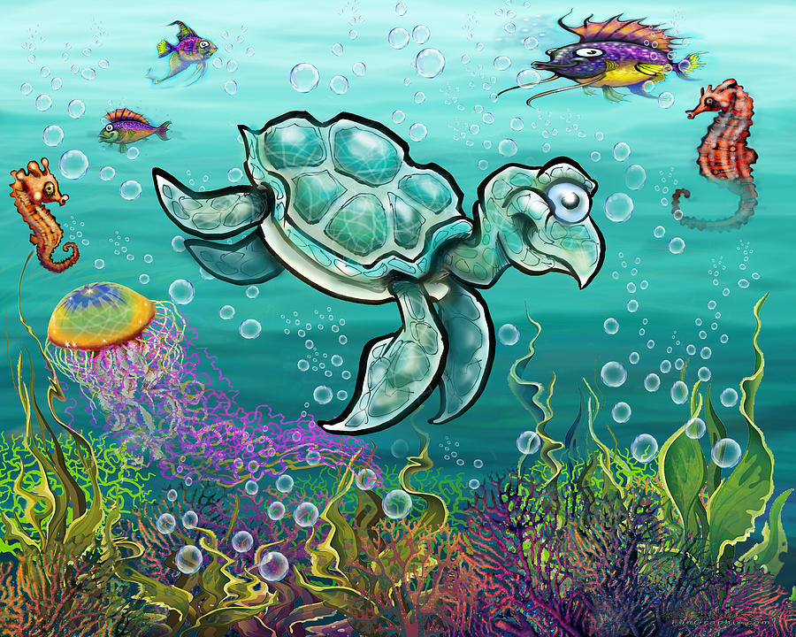 Sea Turtle And Friends Digital Art