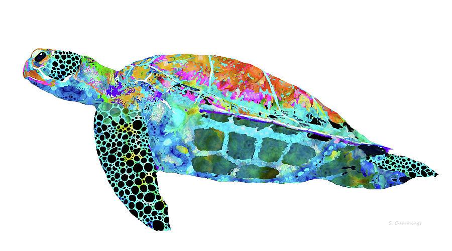 Sea Turtle Painting - Sea Turtle Drift - Colorful Beach Art - Sharon Cummings by Sharon Cummings