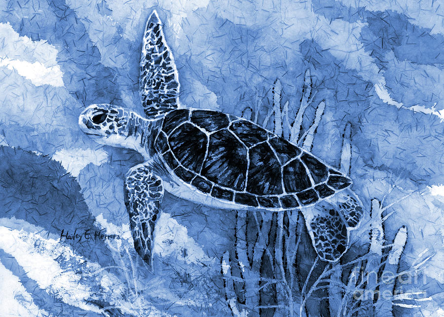 Sea Turtle In Blue Painting