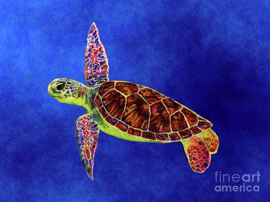 Sea Turtle On Blue Painting