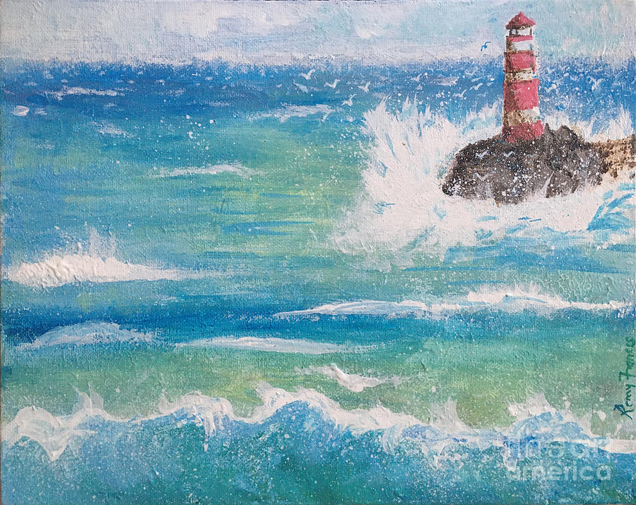 Lighthouse Painting - Sea with Lighthouse by Remy Francis