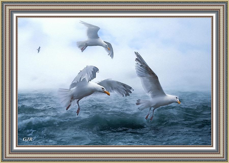 Seagull Seascape Near Newporthurst -on -sea L A S - With Printed Frame Digital Art