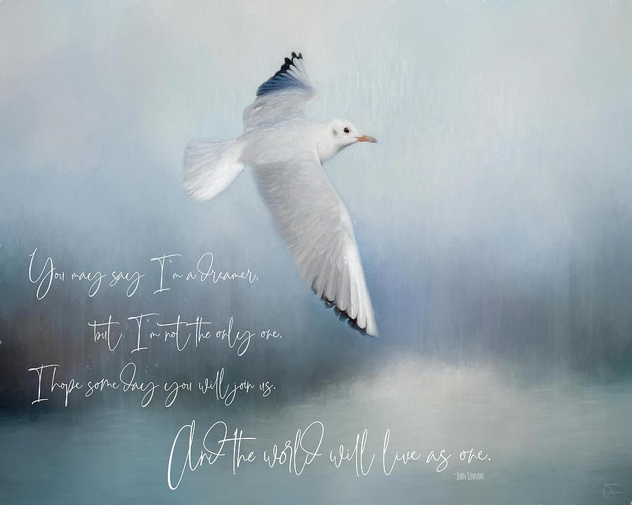 Seagull With John Lennon Quote Digital Art