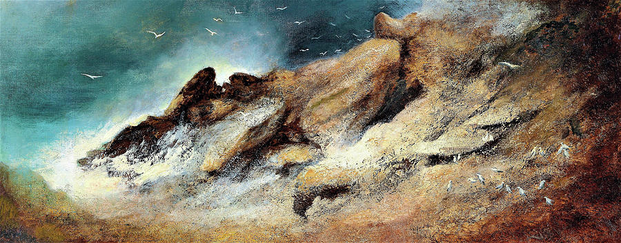 German Painting - Seagulls In A Stormy Bay - Digital Remastered Edition by Karl Wilhelm Diefenbach