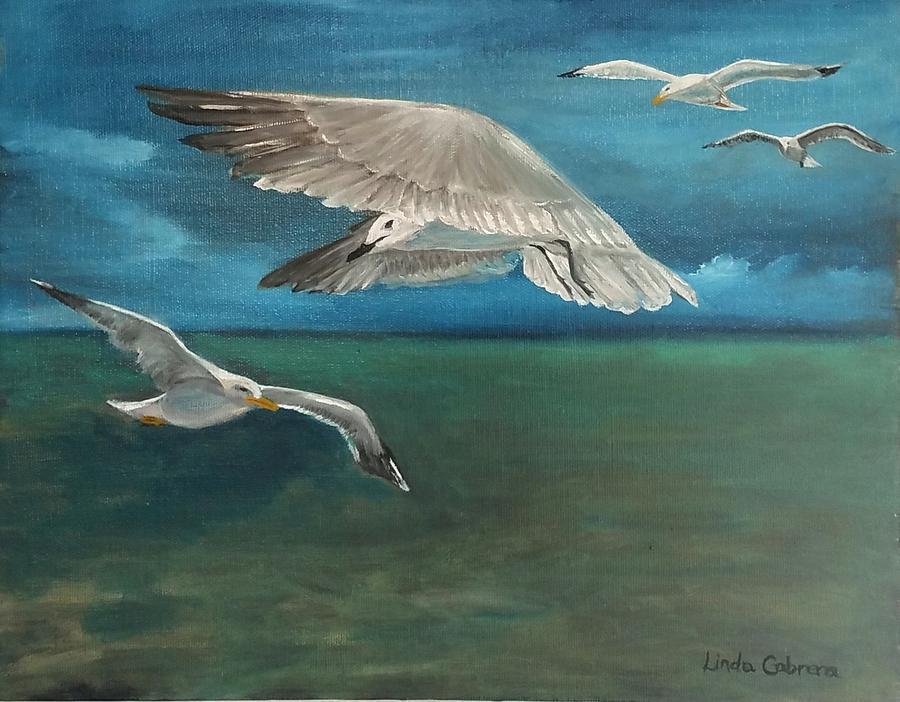 Seagulls over the Florida Keys by Linda Cabrera