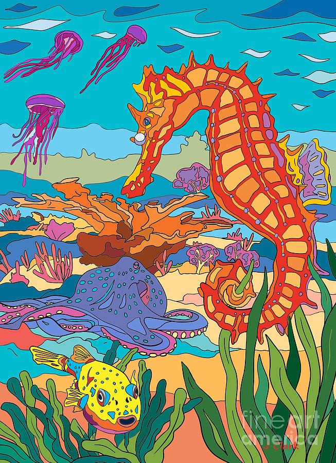 Seahorse And Octopus Digital Art