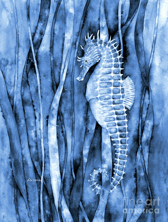 Seahorse In Blue2 Painting