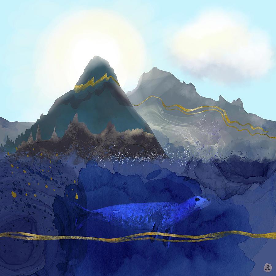 Rising Oceans Digital Art - Seal Under a Melting Glacier by Andreea Dumez
