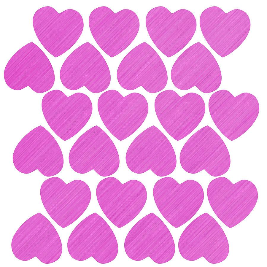 Pattern Digital Art - Seamless pattern with big pink hearts by Elena Sysoeva