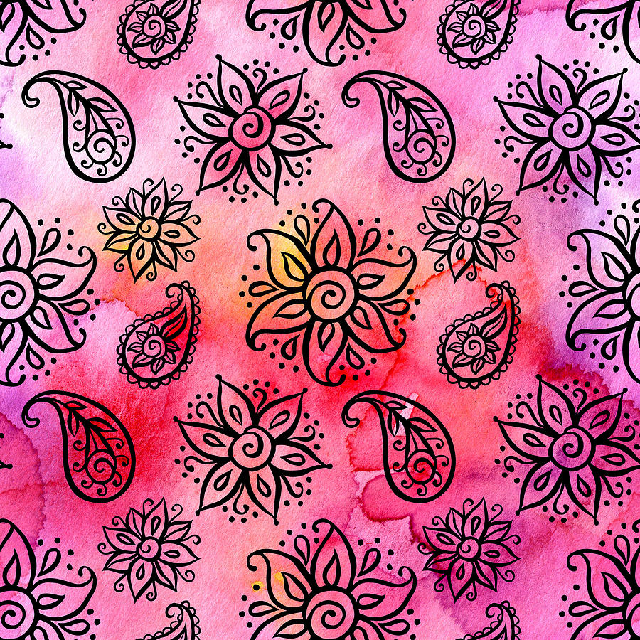 Seamless Pattern With Floral Ornamental Ethnic Decorative Elements Drawing