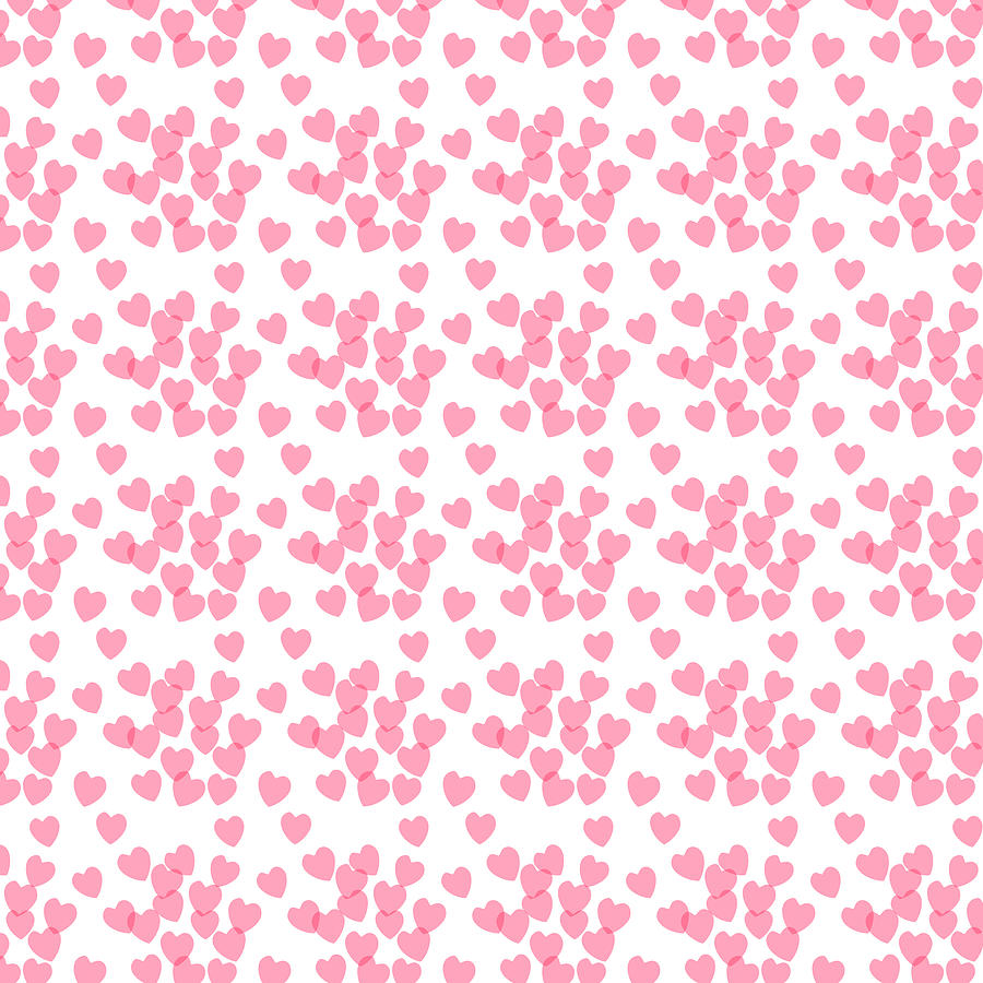 Heart Digital Art - Seamless pink pattern with hearts by Elena Sysoeva