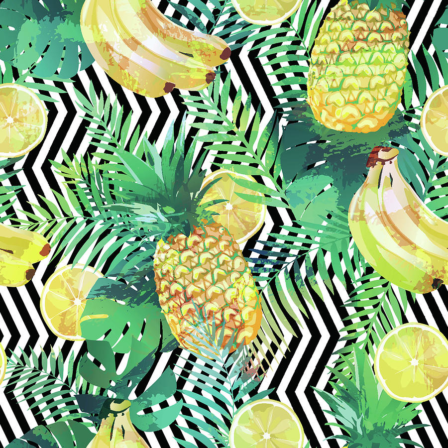 Seamless Tropical Pattern With Bananas Lemons Palm Leaves And Pineapples Drawing