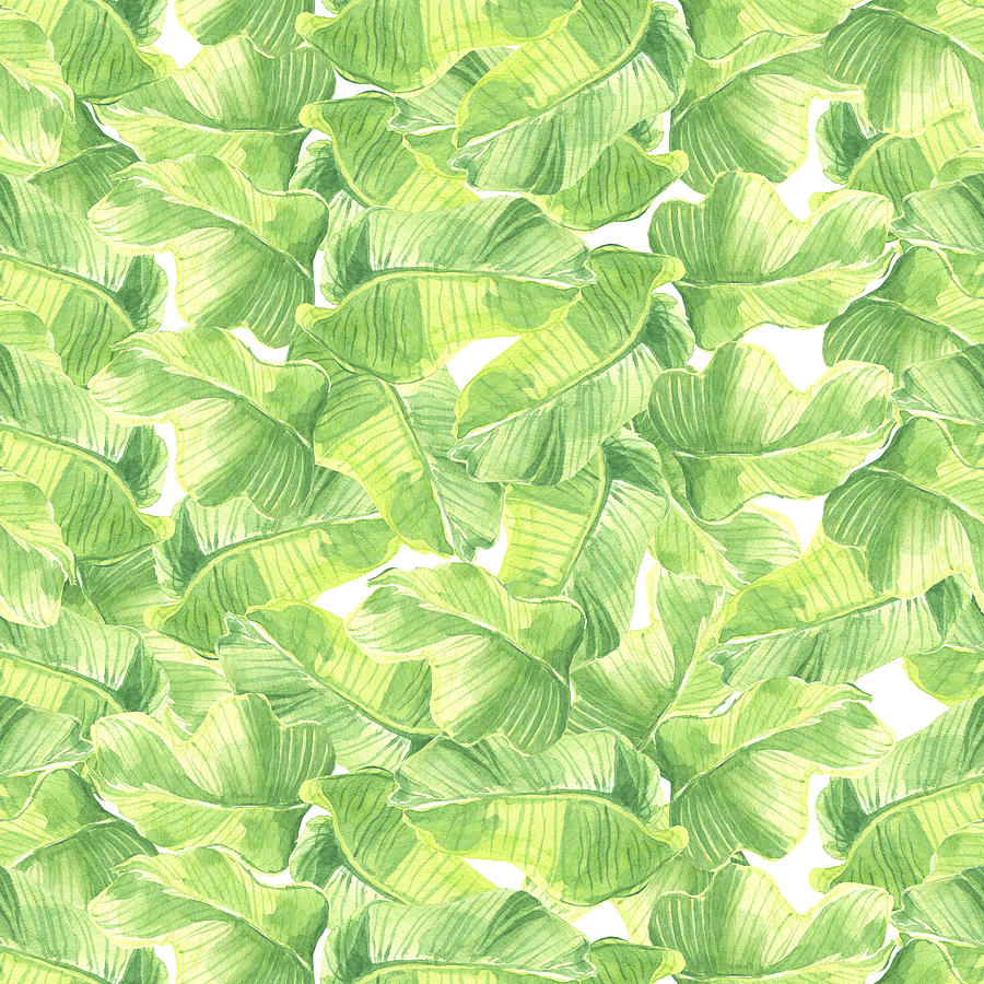 Seamless Watercolor With Exotic Leaves Drawing
