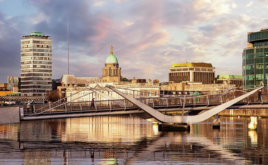 Dublin Photograph - Sean OCasey Bridge and Customs House - Dublin by Barry O Carroll