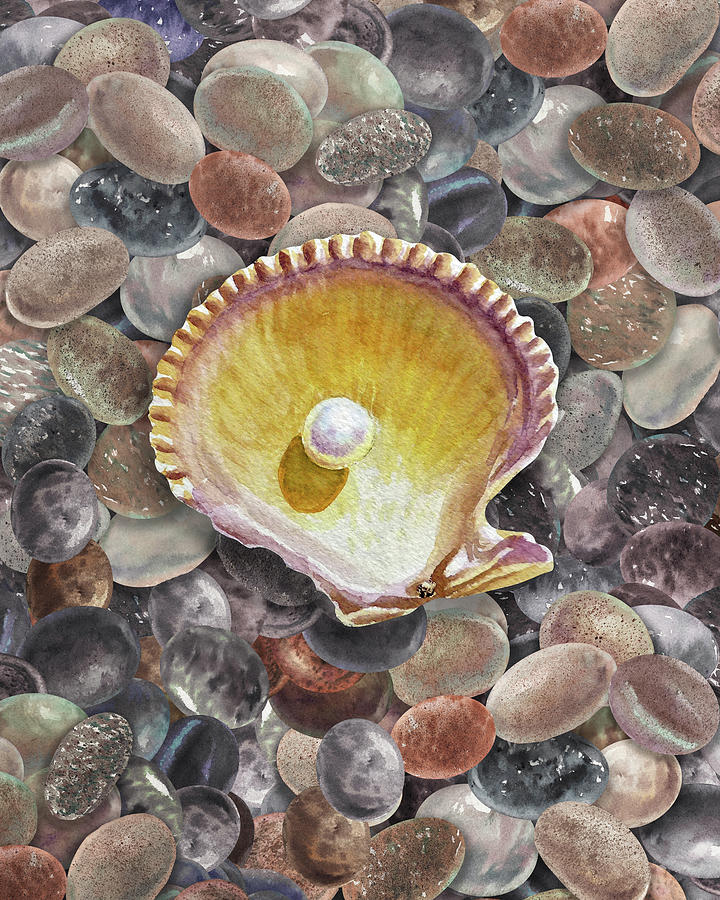 Seashell And Pearl On The Beach Rocks Pebbles Watercolor Painting