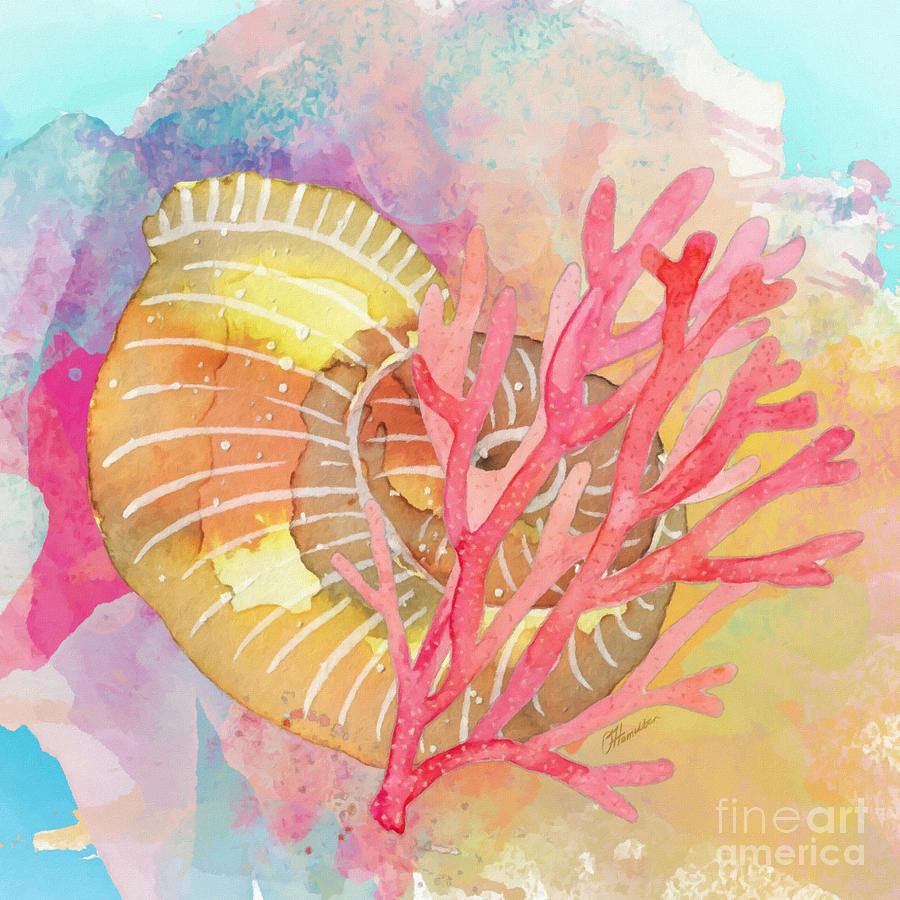Seashell and Red Coral by Olga Hamilton