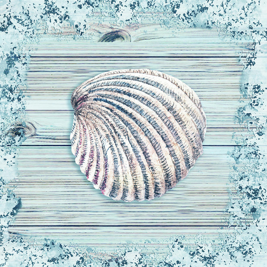 Seashell In Teal Turquoise Blue Watercolor Beach House Decor V Painting