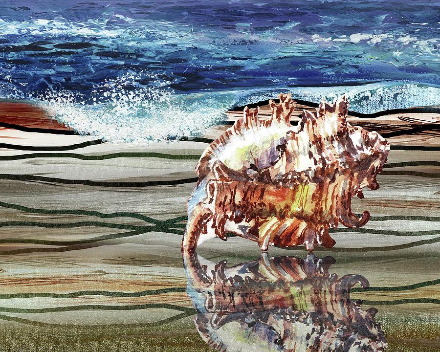 Seashell On The Beach Coastal Art Watercolor Painting