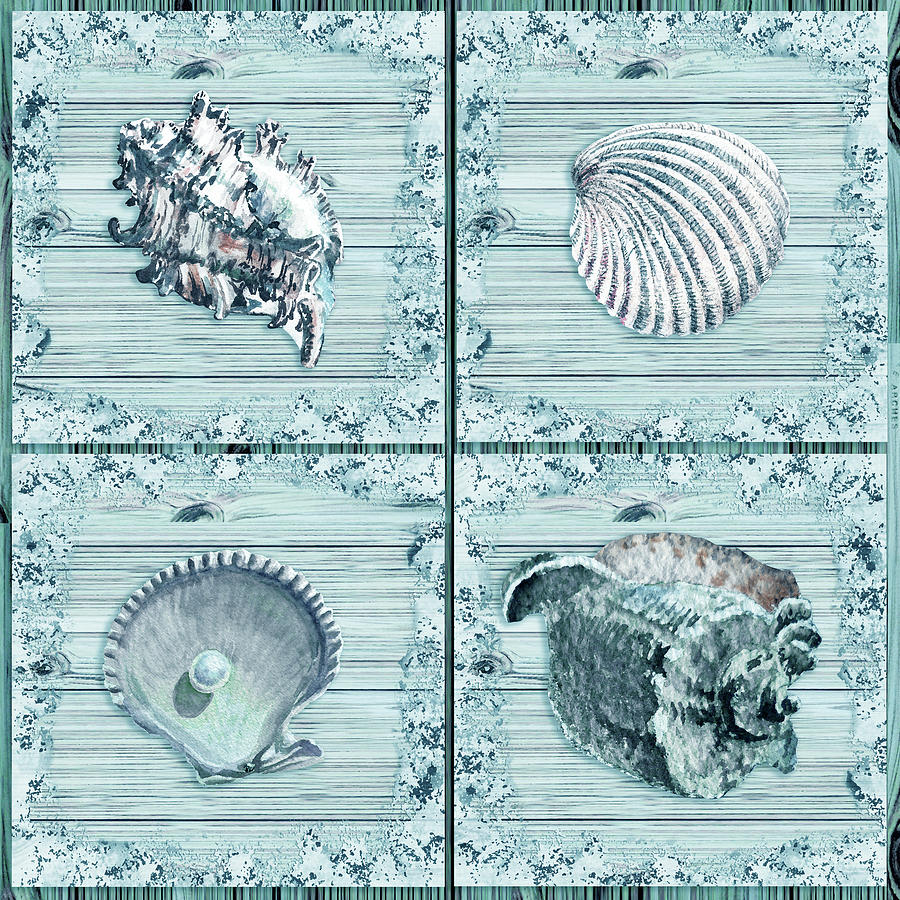 Seashells In Teal Turquoise Blue Watercolor Beach House Decor II Painting