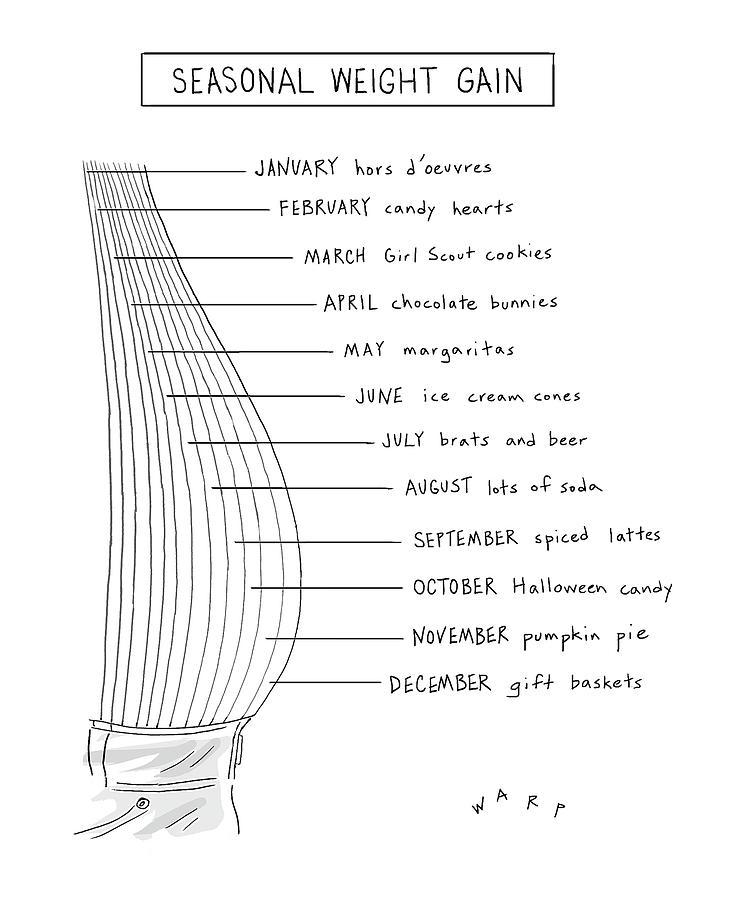 Seasonal Weight Gain Drawing by Kim Warp