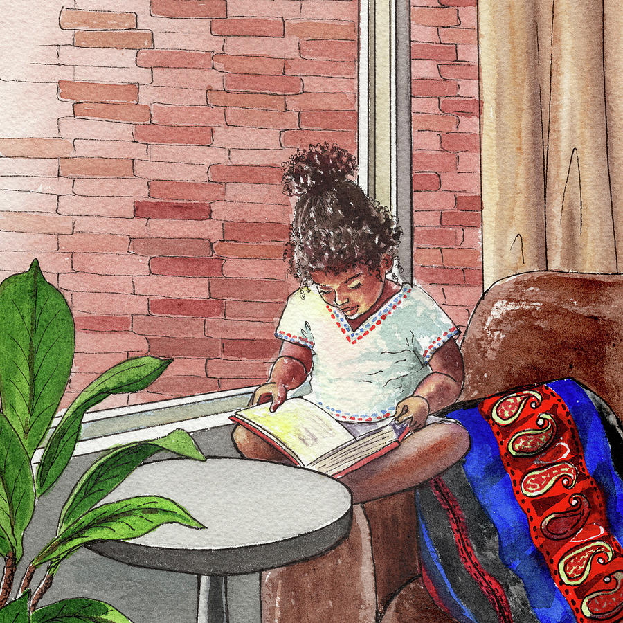 Seated Closer To The Light Black Girl Reading Book Watercolor Painting