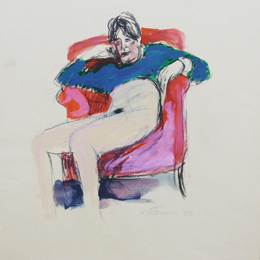 Semi-nude Drawing - Seated Woman by Galya Tarmu