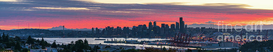 Seattle and Mount Baker at Sunrise by Mike Reid