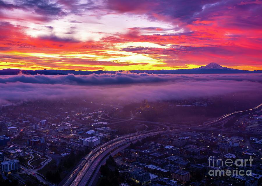 Seattle And Mount Rainier Sunrise Layers Photograph