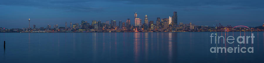 Seattle Christmas Blue Skyline by Mike Reid