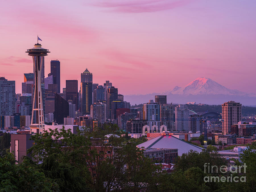 Seattle Dawn From Kerry Park Photograph
