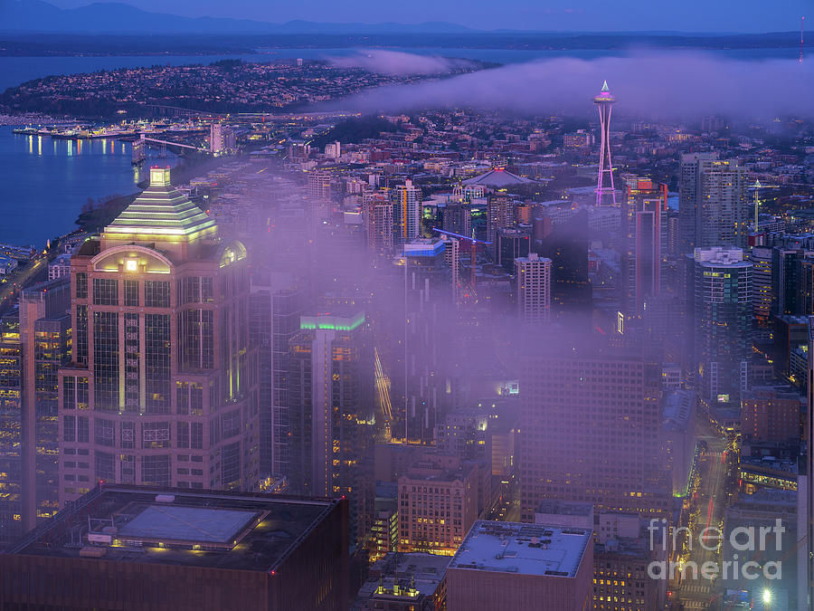 Seattle Downtown Morning Fog Photograph