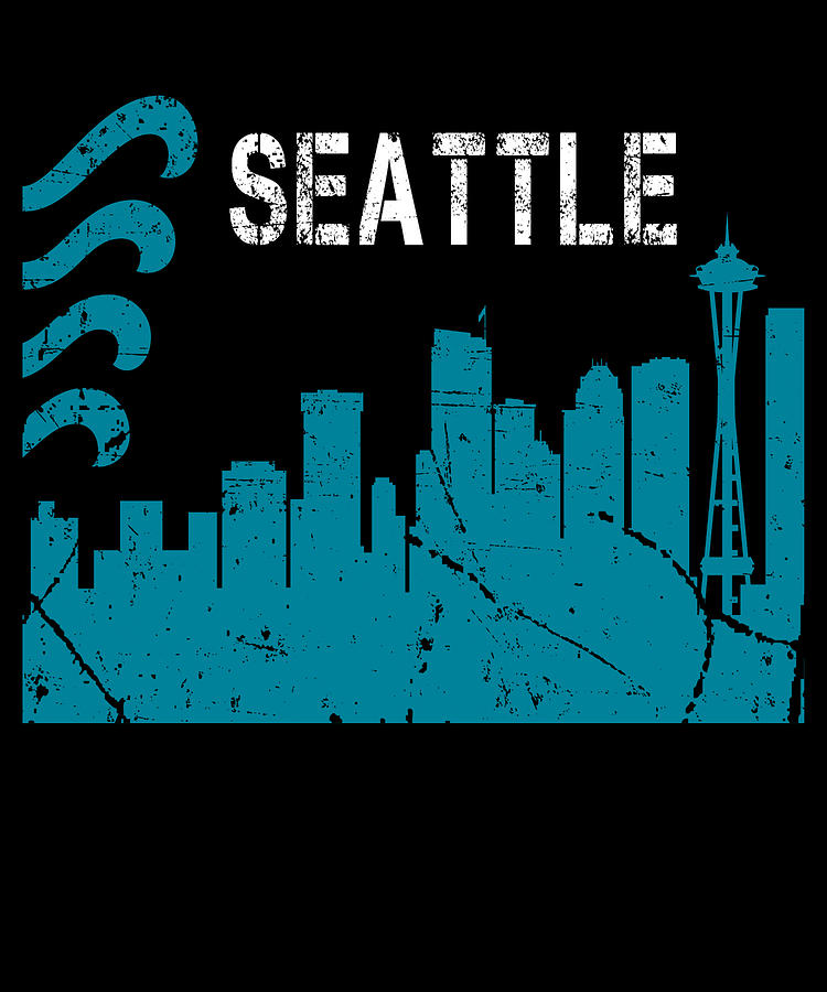Seattle Flag Skyline Washington Digital Art By Michael S