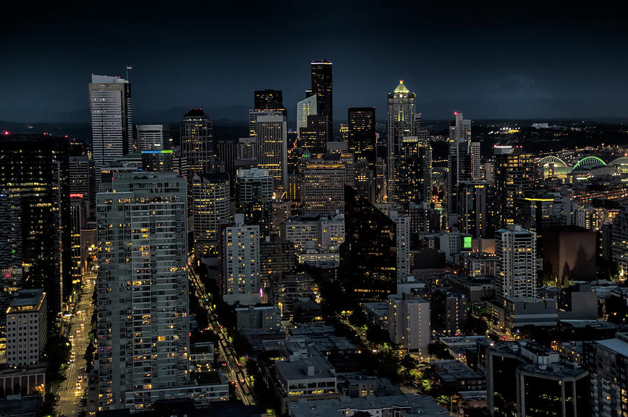 Seattle Photograph - Seattle From The Space Needle by Dave by Photography By Phos3 Kathryn Parent and Dave Paddick